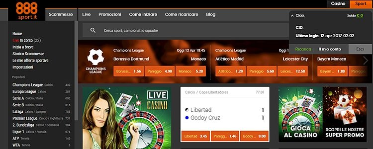 home page di 888sport