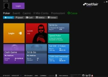schermata dell'app Betfair Poker