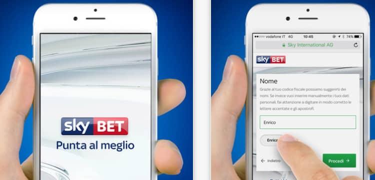 Web e App per dispositivi mobile Sky Bet