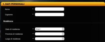 schermata di registrazione su planetwin365