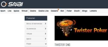il bonus di benvenuto di SNAI Poker