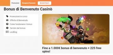 il bonus di benvenuto Casino su LeoVegas