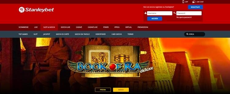 la home page di stanleybet casino