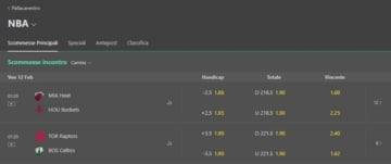 palinsesto scommesse sportive di bet365