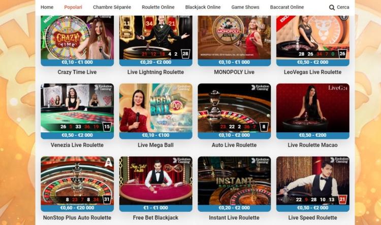 i giochi presenti nella sezione casino Live di LeoVegas