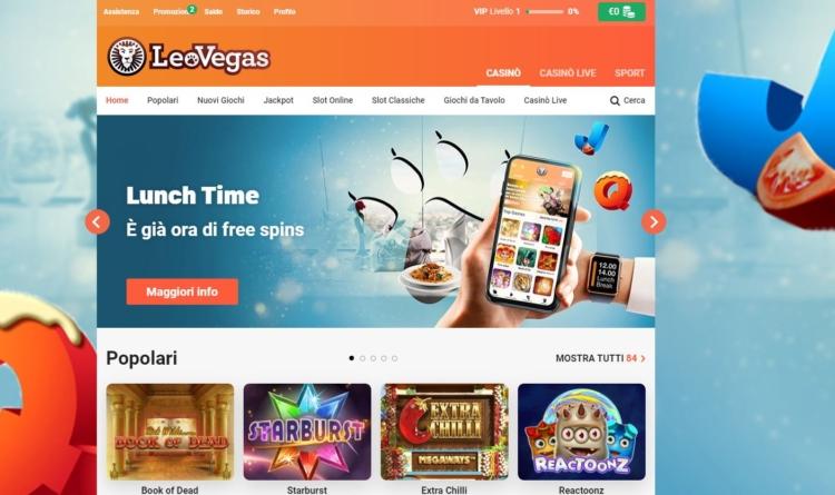 l'home page di LeoVegas
