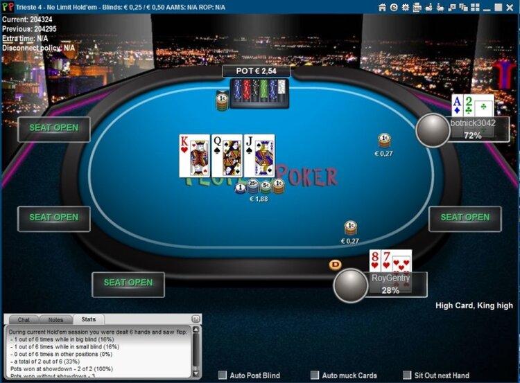 l'interfaccia di un tavolo poker magicsports