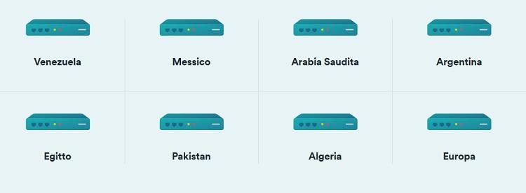 alcune delle nazioni in cui sono presenti i server della vpn surfshark
