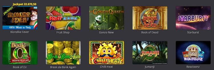 alcune delle slot disponibili su Big Casino