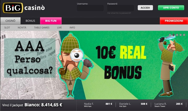 homepage del sito Big Casino
