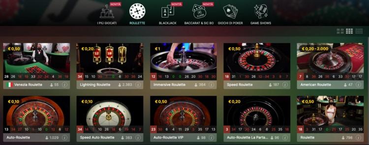 le sezioni disponibili nel casino live di Big Casino