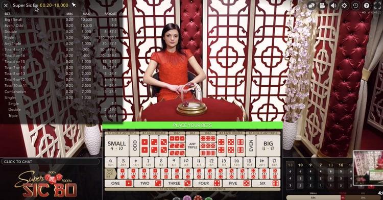 schermata del gioco sic bo sulla piattaforma Big Casino