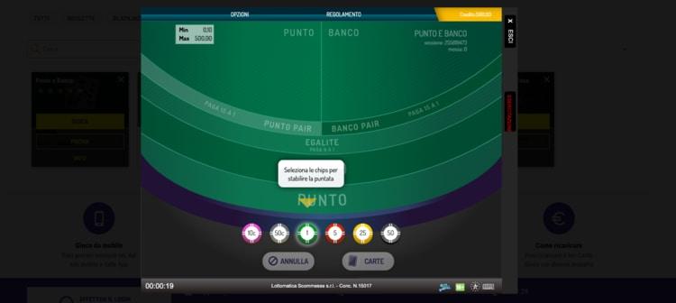 schermata di punto e banco su lottomatica casino