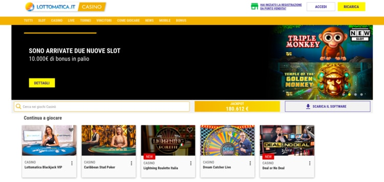 home page di lottomatica casino