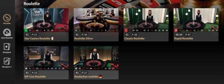 alcune delle roulette disponibili nel casino live di Starcasino