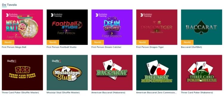 alcuni giochi da tavolo disponibili su starcasino