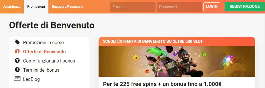il bonus di benvenuto su LeoVegas casino