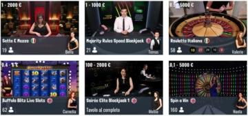 i giochi della sezione Live su SNAI Casino