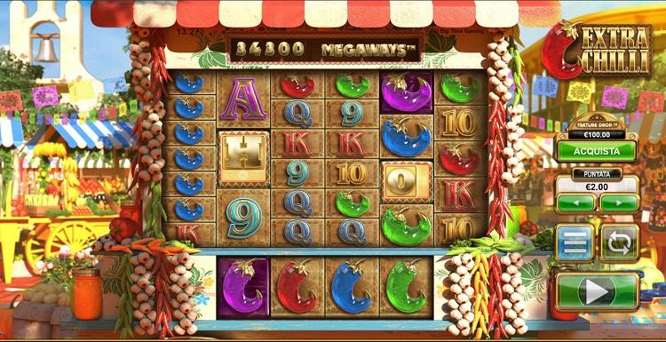 schermata di gioco della slot extra chilli megaways