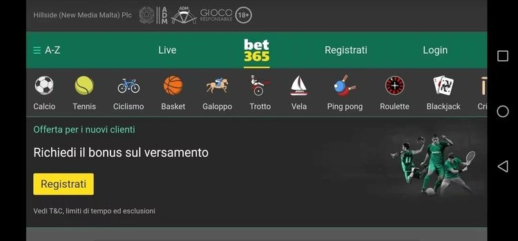 la home page di bet365 app