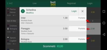 esempio di una schedina sull'app bet365
