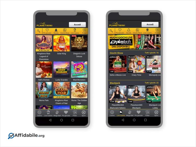 interfaccia di uno dei nuovi casino da mobile